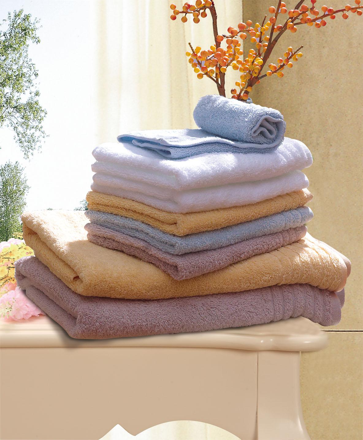 素色纯棉缎档方浴巾三件套礼盒