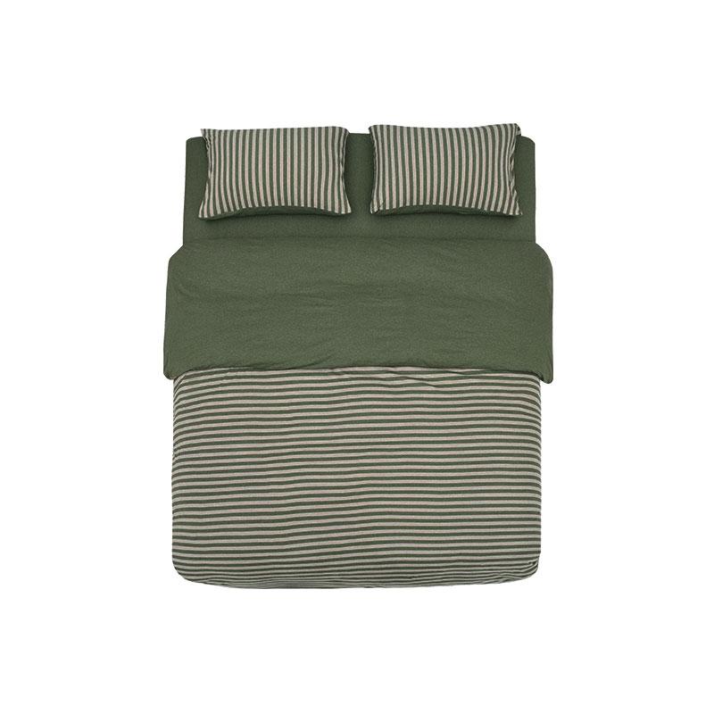 【网易严选】全棉针织条纹四件套1.5M床尺寸-烟草绿/木兰黄/丁子灰