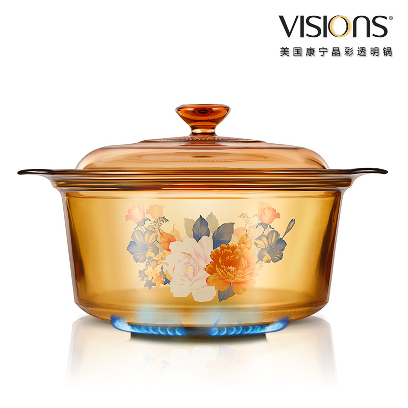 VISIONS 美国康宁晶彩透明锅(富贵吉祥花卉系列)