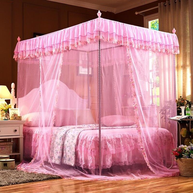维仕蓝新款1.5*2.0米 22mm立柱蚊帐(粉色)三开门蚊帐