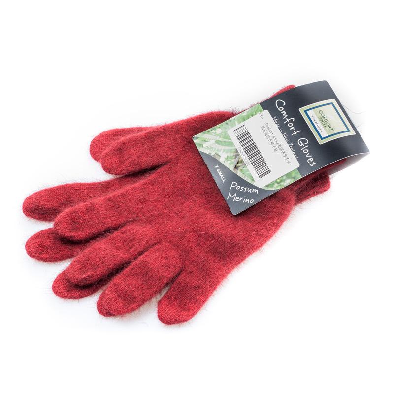 新西兰COMFORT SOCKS美利奴羊毛手套五指手套全指手套枣红色 XS