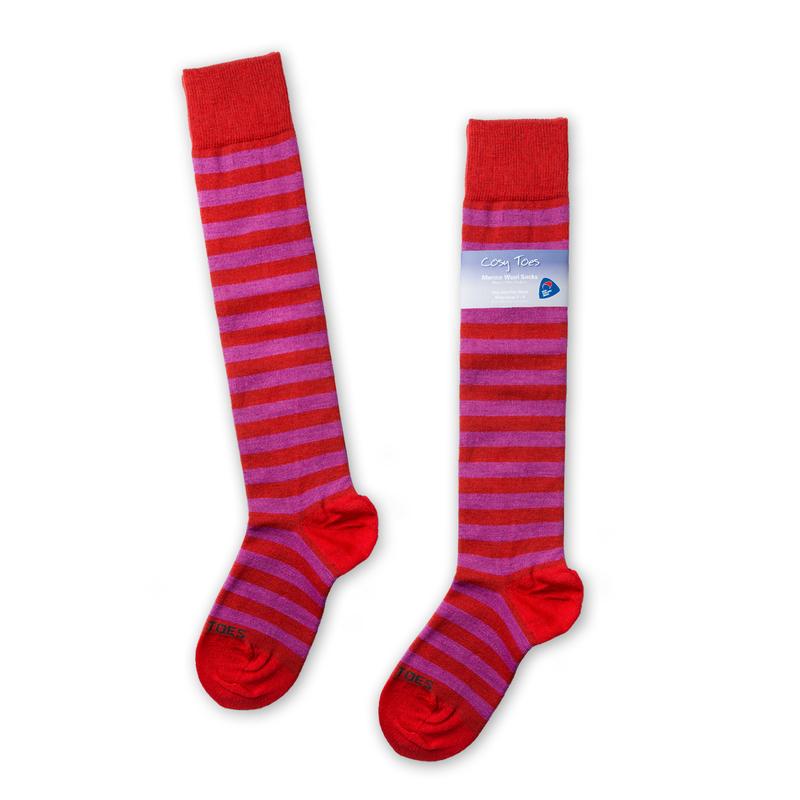 新西兰原产Cosy Toes美利奴羊毛长筒袜羊毛袜子红灰条纹彩色
