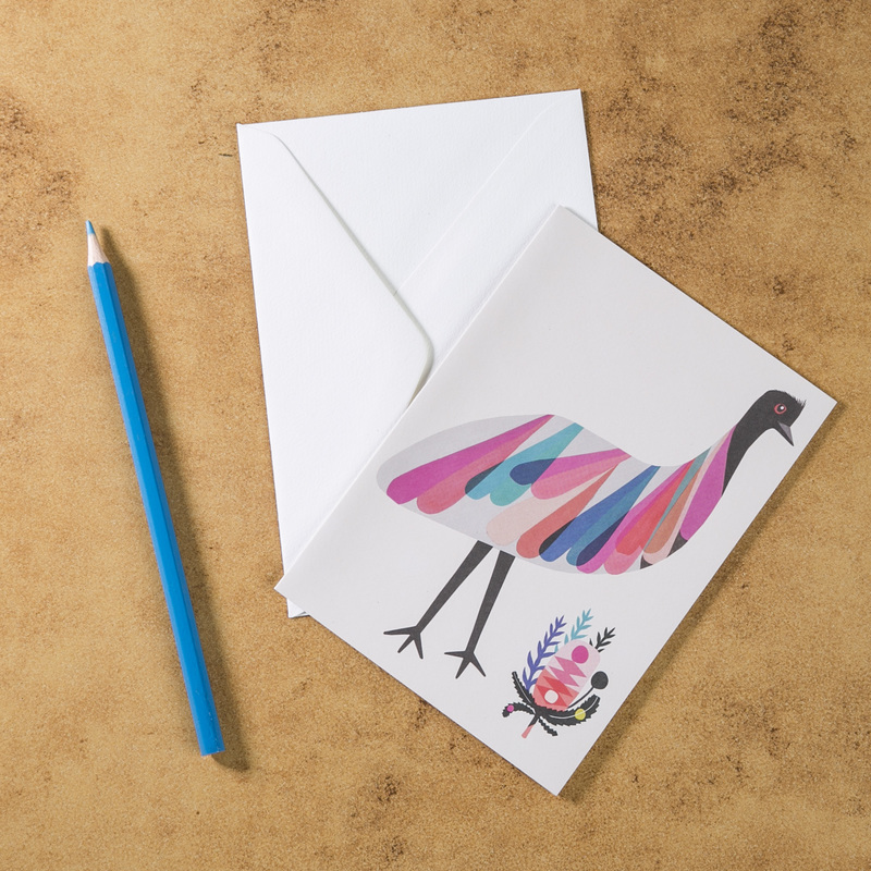 新西兰原产Tikitibu 袋鼠岛鸸鹋 贺卡明信片创意生日贺卡