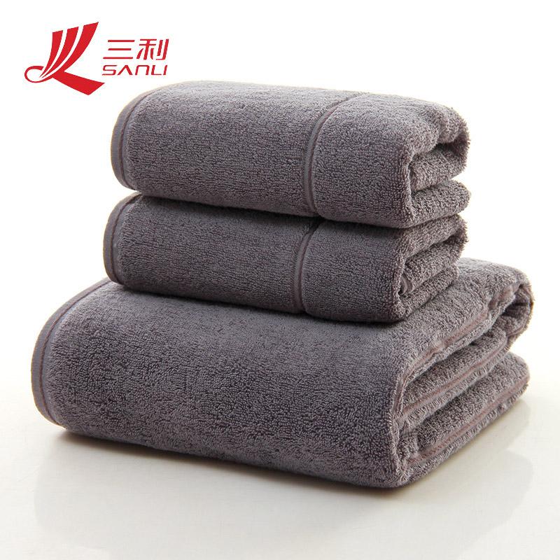 三利纯色面巾2+浴巾三件套礼盒装颜色随机毛巾
