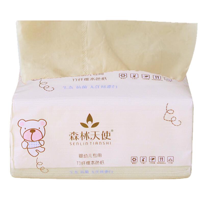 """""""森林天使""""婴幼儿专用竹纤维本色抽纸360蛋壳色9包/箱"""