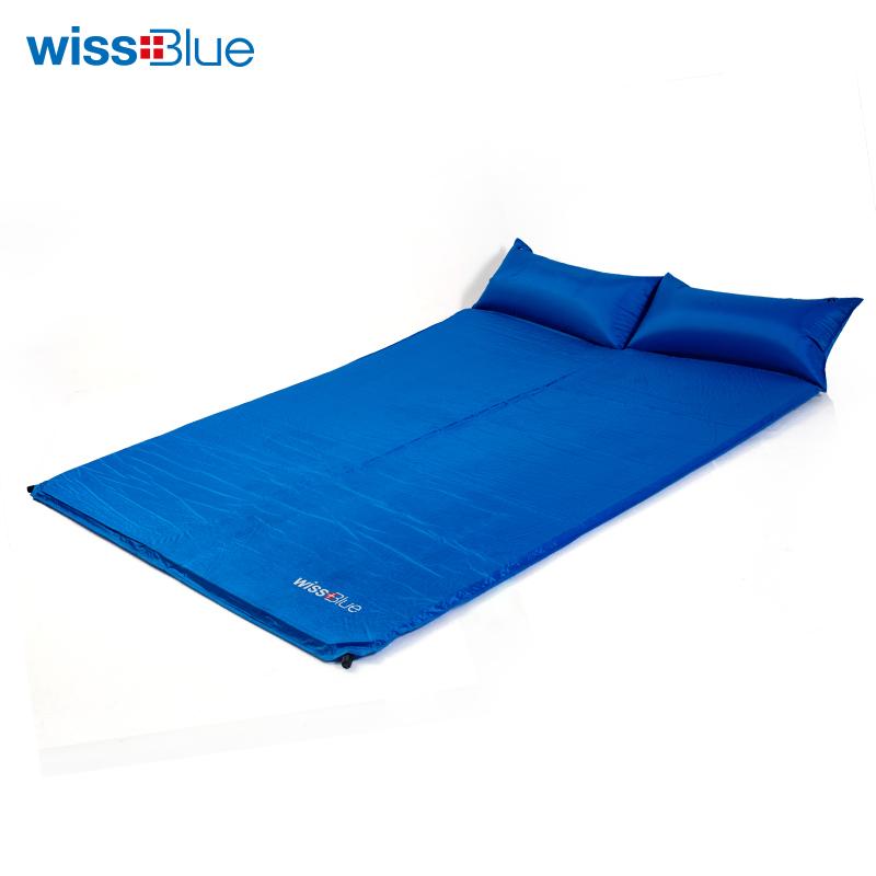 维仕蓝双人自动充气垫WA8040 蓝色
