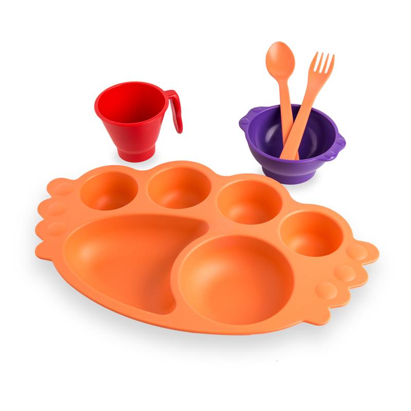 韩国原产Uinlui甘蔗儿童餐具宝宝餐盘创意餐具套装5件套 橙色盘