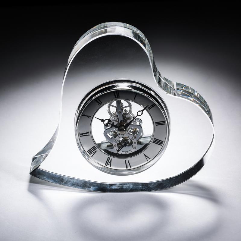 意大利原产Ranoldi水晶摆件 爱心时钟 客厅水晶台钟 钟表摆件