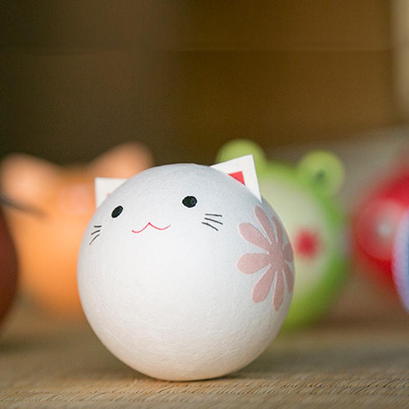 日本原产Ishikawa 美浓和纸纸质玩偶摆件 小猫咪