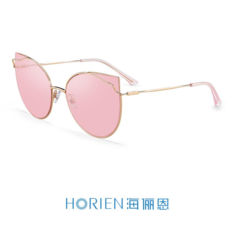 海俪恩(HORIEN)18年新品太阳镜女时尚猫眼大框墨镜防强光炫光高清驾驶镜6607 N6607N72