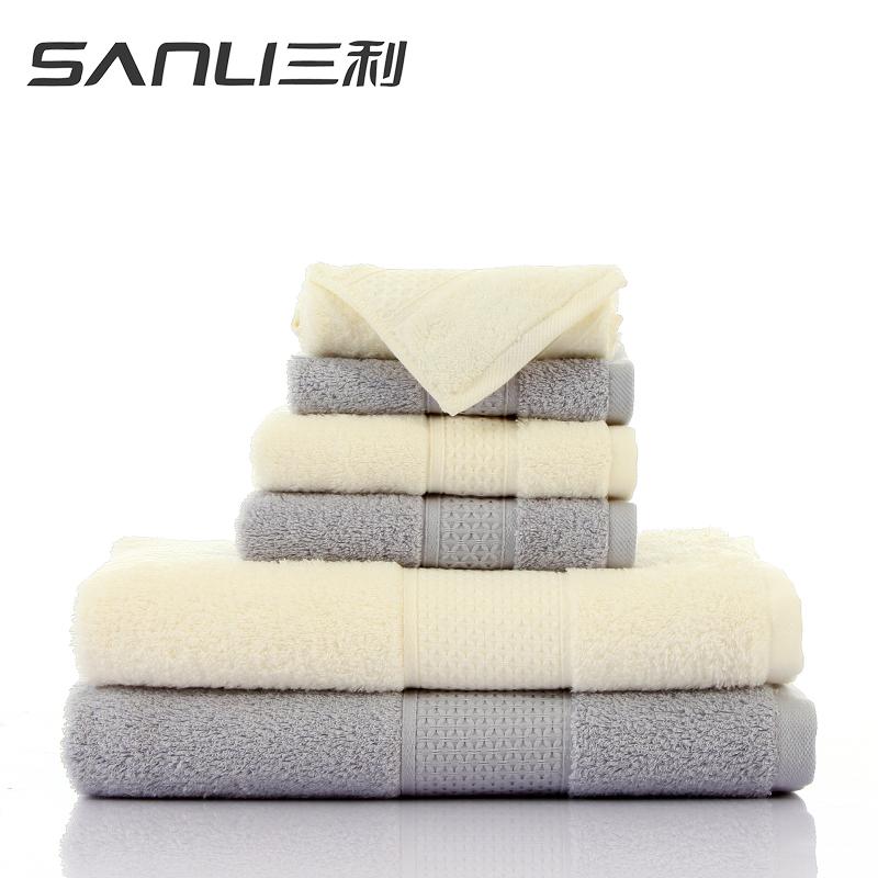 三利臻品长绒棉方面浴三件套礼盒装颜色随机毛巾