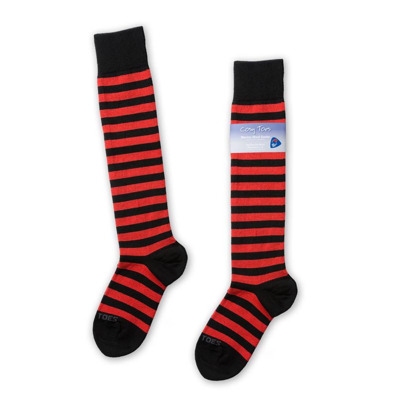 新西兰原产Cosy Toes美利奴羊毛长筒袜羊毛袜子红色条纹彩色