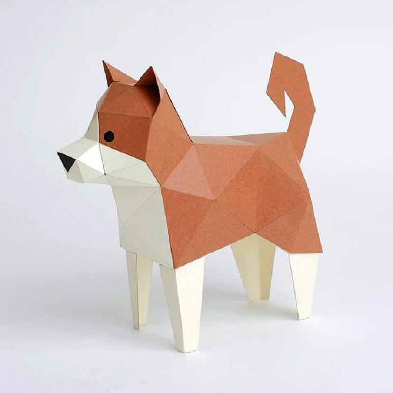 日本原产KAKU KAKU3D立体纸质拼图动物纸模儿童DIY玩具