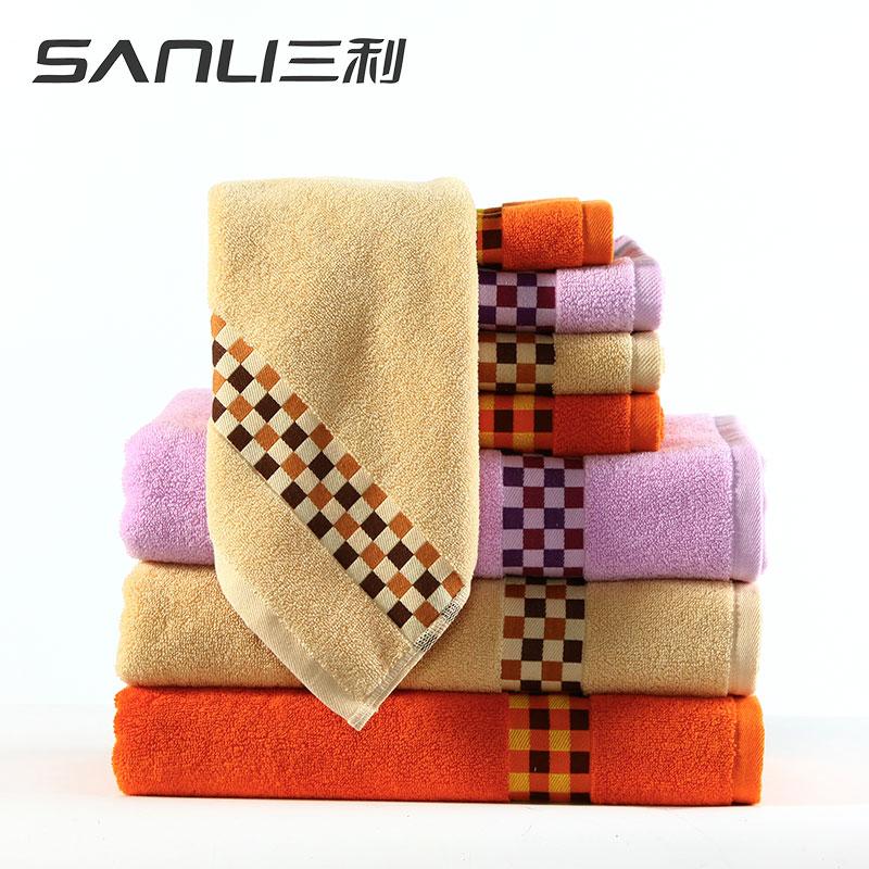 三利清新小格方面浴三件套礼盒装颜色随机毛巾