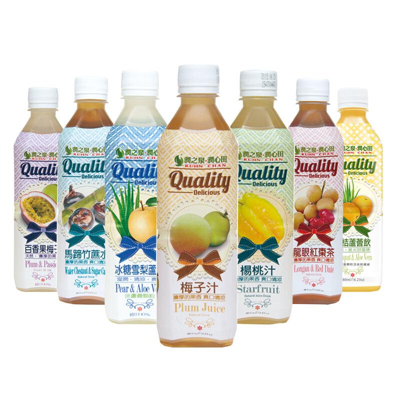 台湾原装进口润之泉饮料果蔬汁水果汁休闲食品饮料480mlx5瓶随机五味 小黑马优选