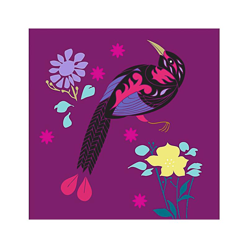 英国原产IONA天堂鸟水墨画图节日祝福贺卡明信片