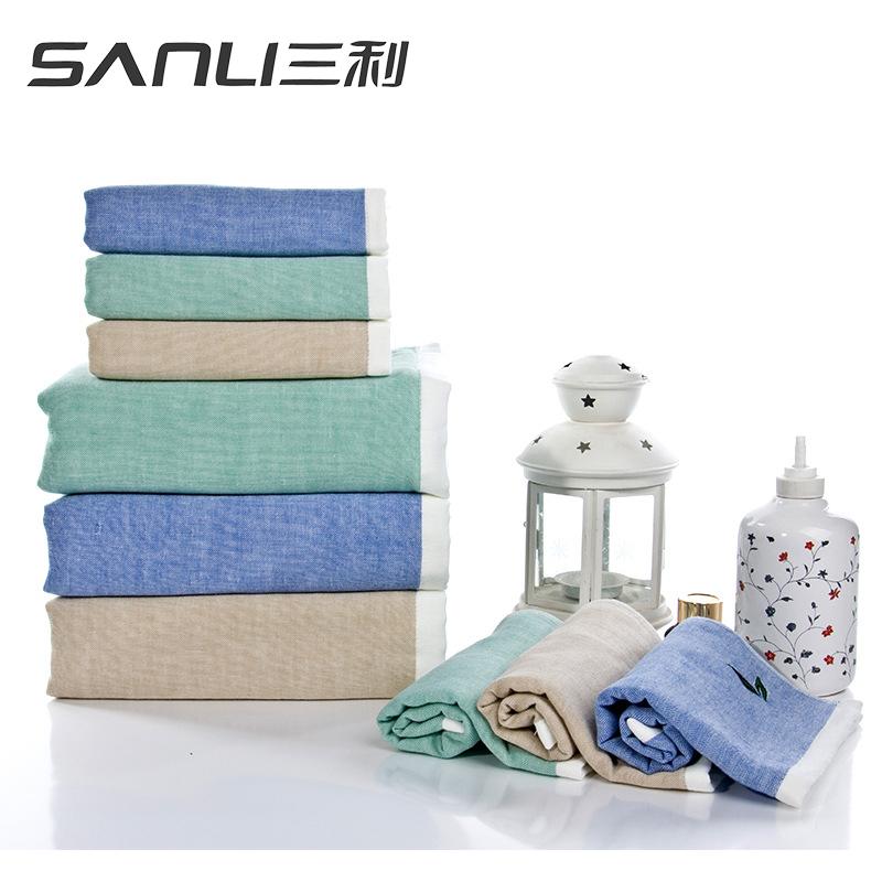 三利绿茶方面浴三件套礼盒装颜色随机毛巾