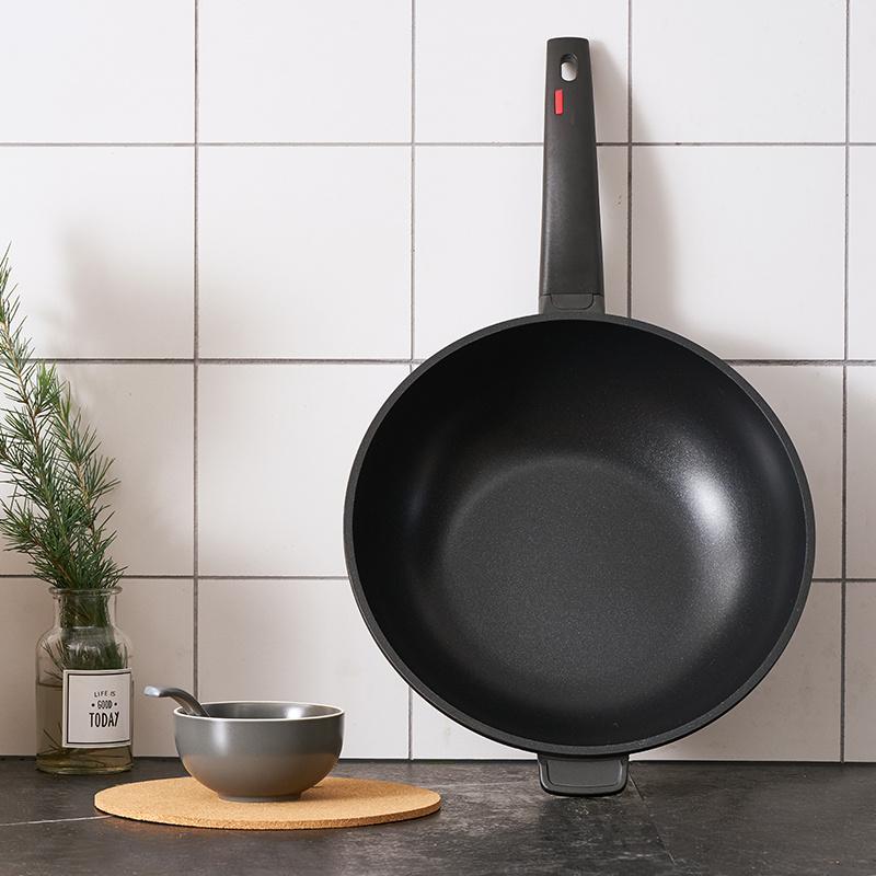 欧式精铸炒锅-30cm/升级涂层/加厚玻盖/电磁炉通用