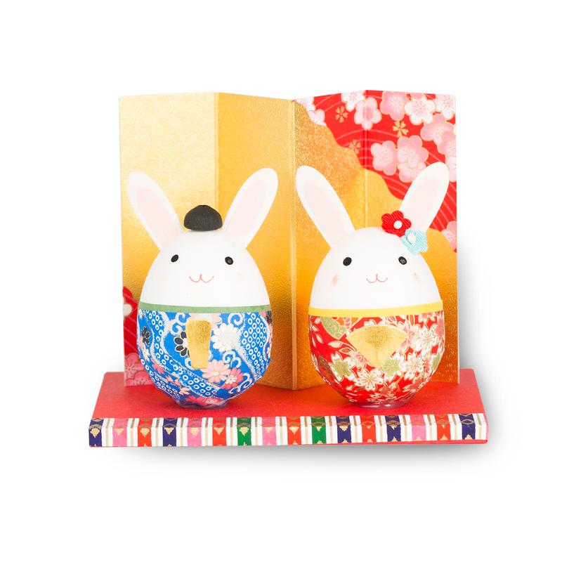 日本原产Ishikawa 美浓和纸 纸质玩偶摆件 情侣兔子