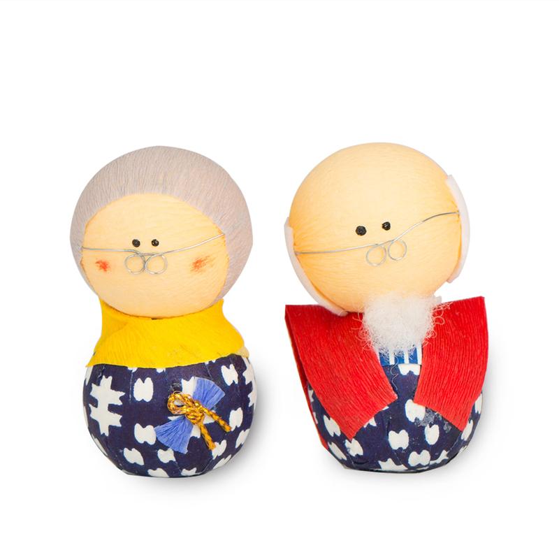日本原产Ishikawa 美浓和纸 纸质人形 祖父母玩偶摆件