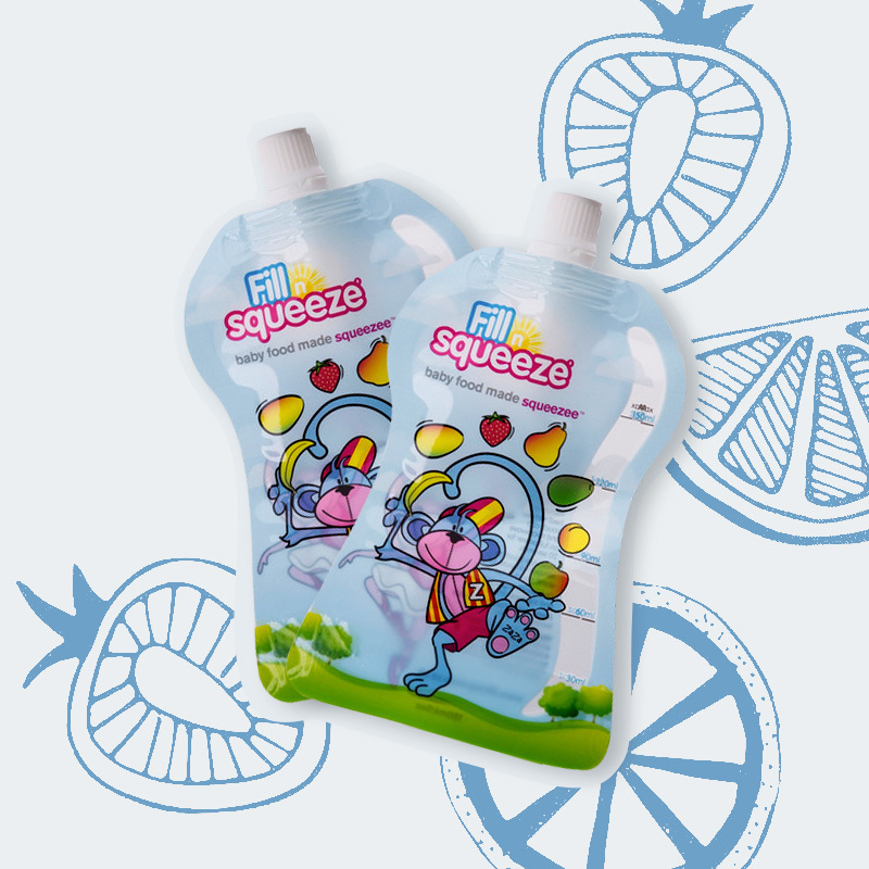 英国原产Fill n squeeze便携式婴儿辅食袋10件装