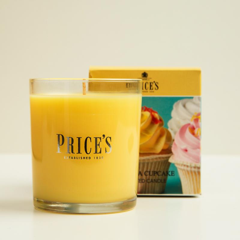 英国Prices玻璃香薰蜡烛香氛奶油蛋糕味
