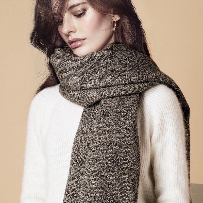 新西兰Stansborough指环王系列灰羊毛针织披肩盖毯金银丝