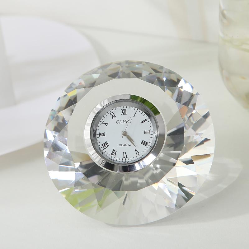意大利原产Ranoldi水晶摆件 钻石造型时钟 静音钟表家居摆件