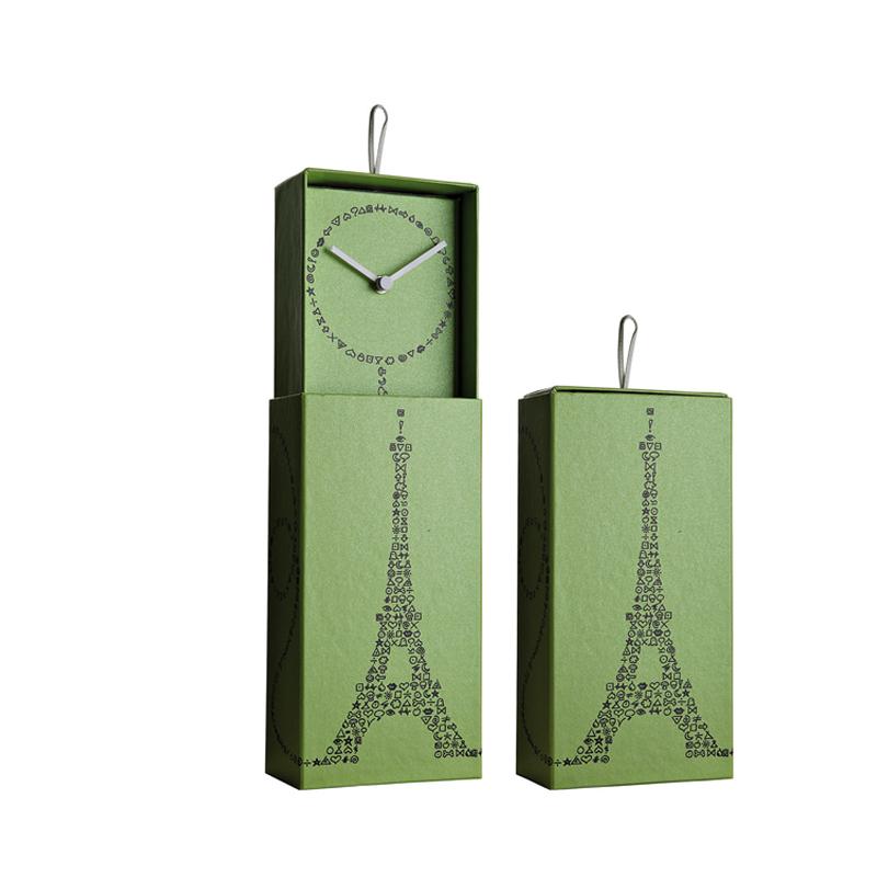 意大利原产Creativando藏在盒子里的钟表时钟挂钟埃菲尔铁塔绿色
