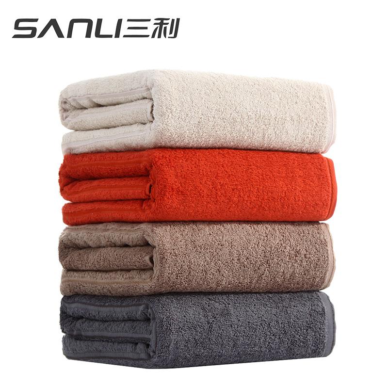 三利纯色浴巾单条礼盒装颜色随机毛巾