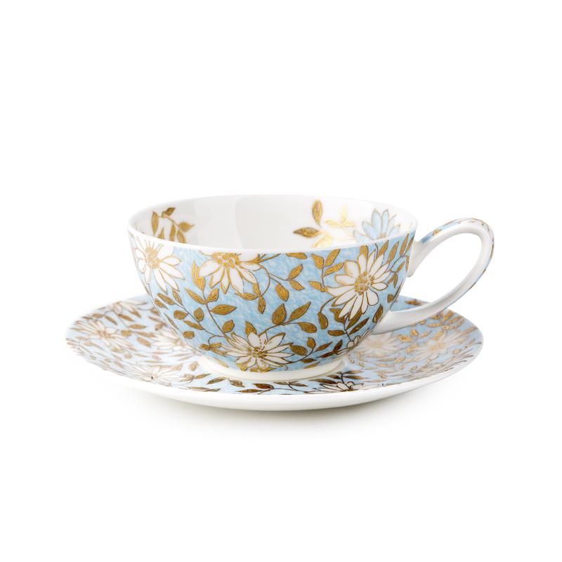 英国原产DUNOON丹侬 Aqua骨瓷茶杯水杯 茶具 22K黄金饰面