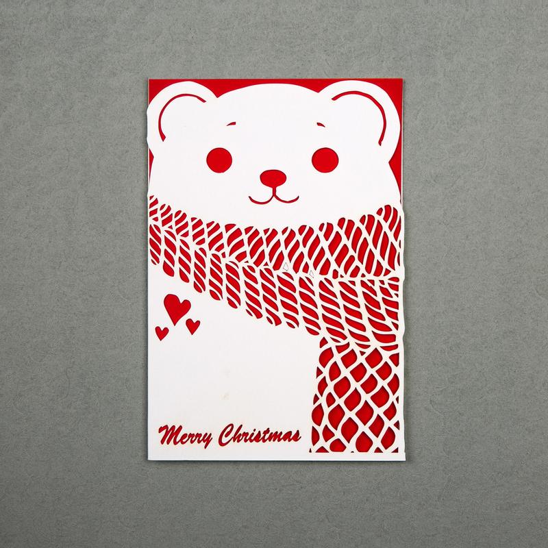 英国原产Chau Art 围巾熊主题贺卡明信片创意贺卡