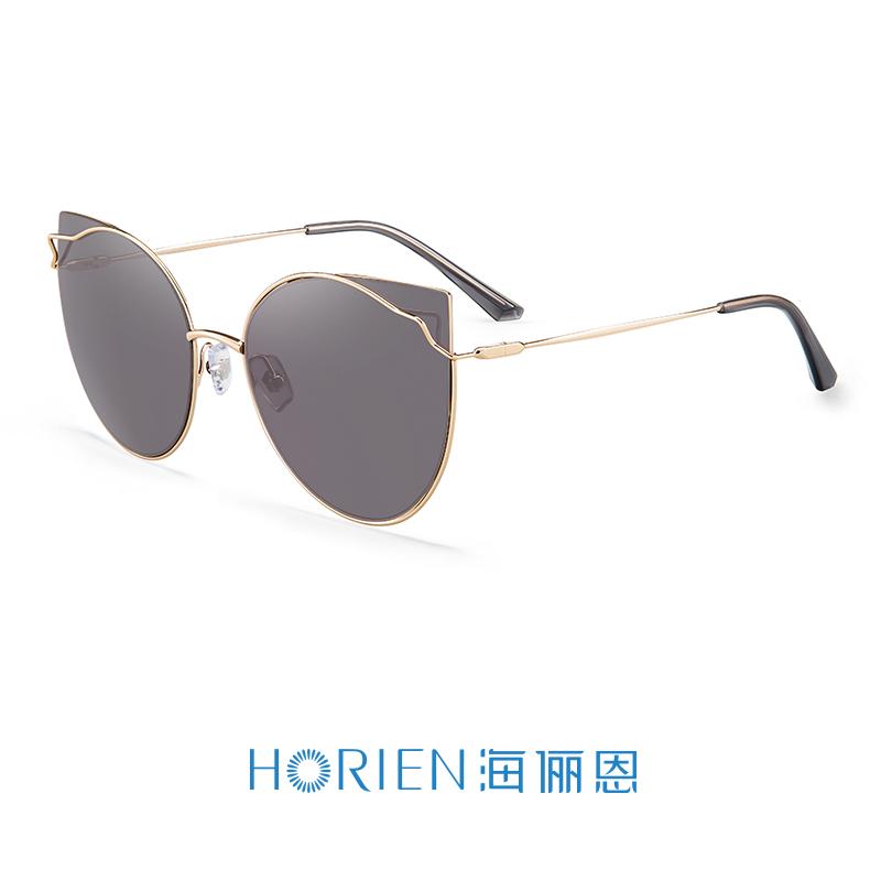 海俪恩(HORIEN)18年新品太阳镜女时尚猫眼大框墨镜防强光炫光高清驾驶镜6607 N6607N02
