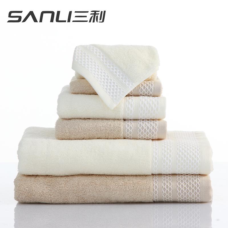 三利布拉格恋人童巾+面巾+浴巾三件套礼盒装颜色随机毛巾