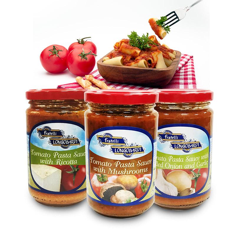 进口意大利面酱朗伯德娜蕃茄酱面条调味酱3瓶装(蘑菇/奶酪/洋葱蒜味)小黑马优选