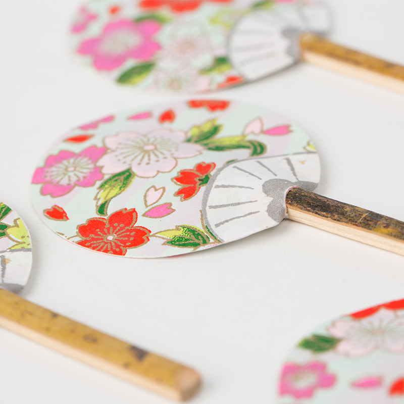 日本原产Ishikawa 美浓和纸摆件扇子5把装 随机样式