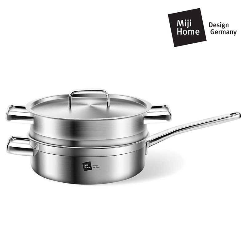 Miji 米技 银河系列 24CM西式煎锅带蒸格套装