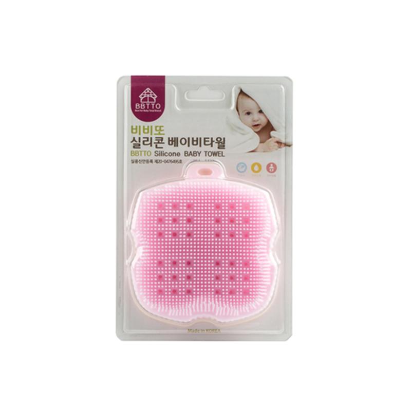 韩国原产BBTTO健康硅胶宝宝洗浴巾多功能清洁巾洗澡巾