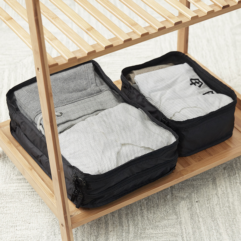 梭织布可折叠旅行收纳包-黑色单层大中小款/黑色双层中款