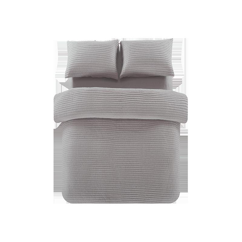 网易严选全棉色织绗缝多用件套--1.5M灰紫
