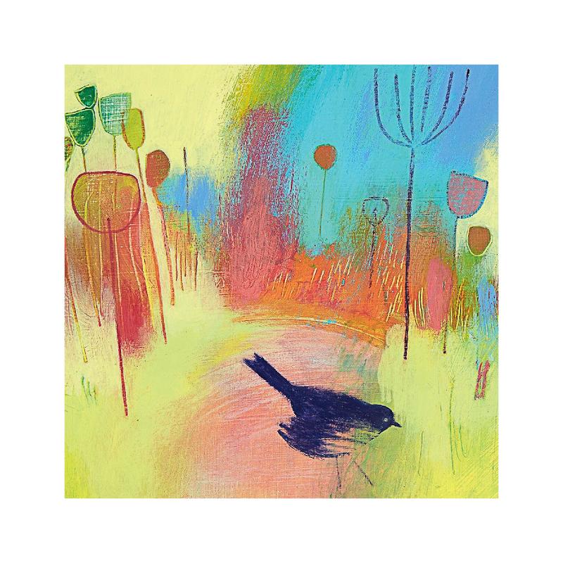 英国原产IONA画眉鸟水墨画图案节日祝福贺卡明信片