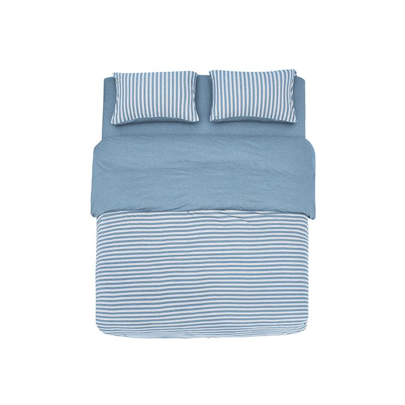 网易严选全棉针织条纹四件套 新款--浅波蓝(床单款);1.8M(床尺寸)