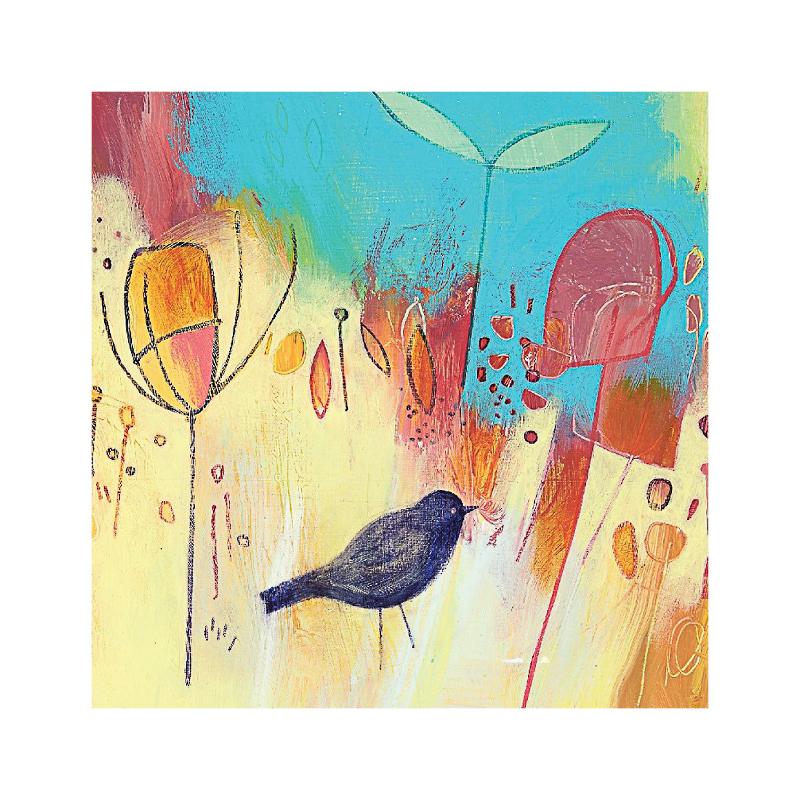 英国原产IONA画眉鸟水墨画图节日祝福礼物卡片贺卡明信片