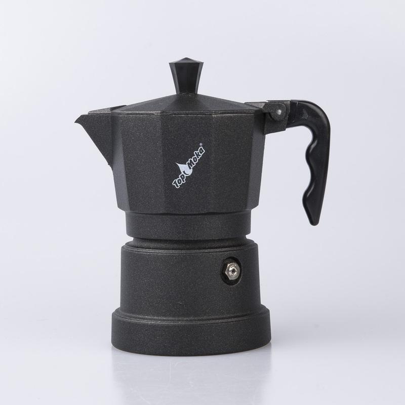 意大利原产Top Moka家用摩卡壶咖啡壶黑色底座3杯版