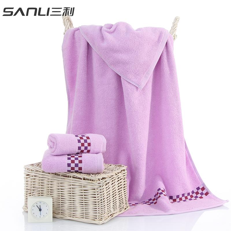 三利清新小格浴巾单条礼盒装颜色随机毛巾