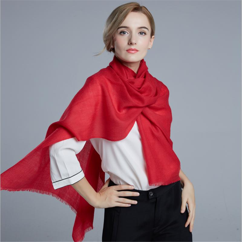 恒源祥丝光羊毛围巾披肩(大红)HYX1001