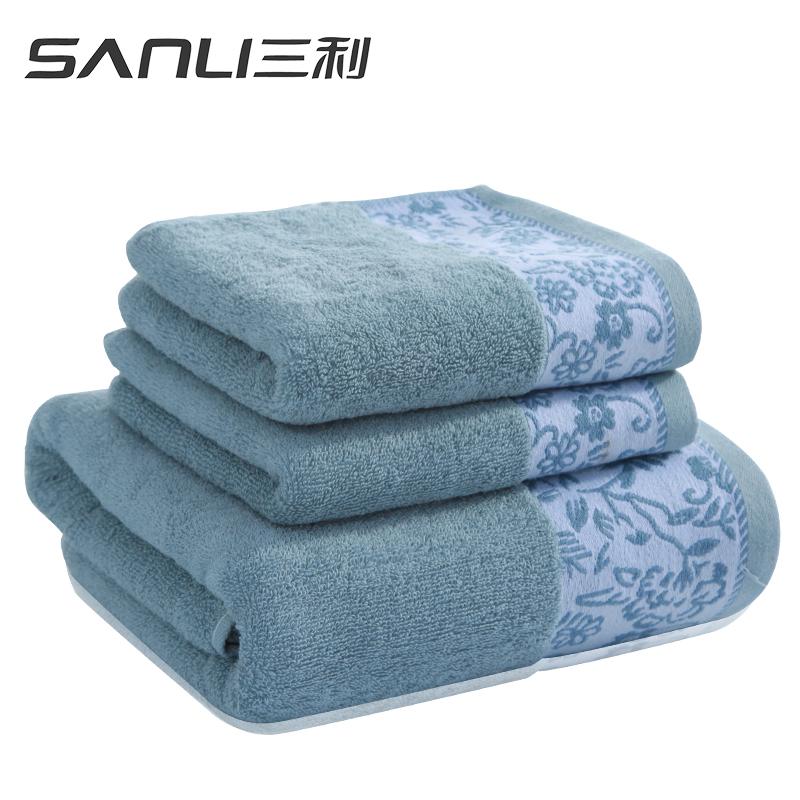 三利时光日记面巾2+浴巾三件套礼盒装颜色随机毛巾