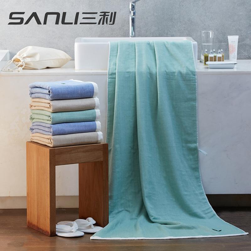 三利绿茶浴巾单条礼盒装颜色随机毛巾