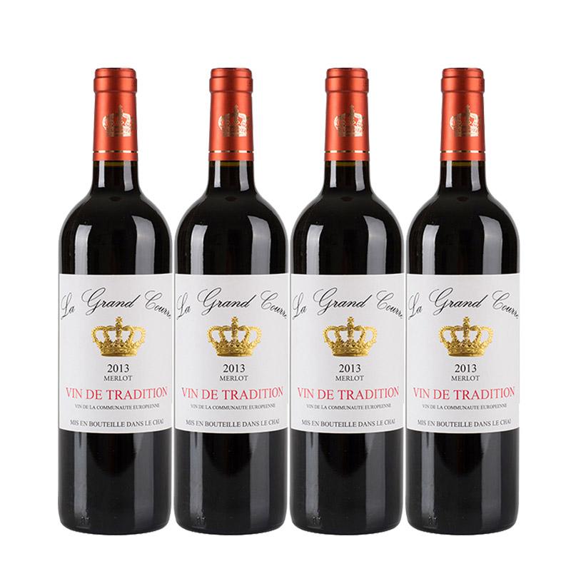 拉科瑞美乐皇冠干红葡萄酒750mlx4瓶 法国进口红酒 小黑马优选