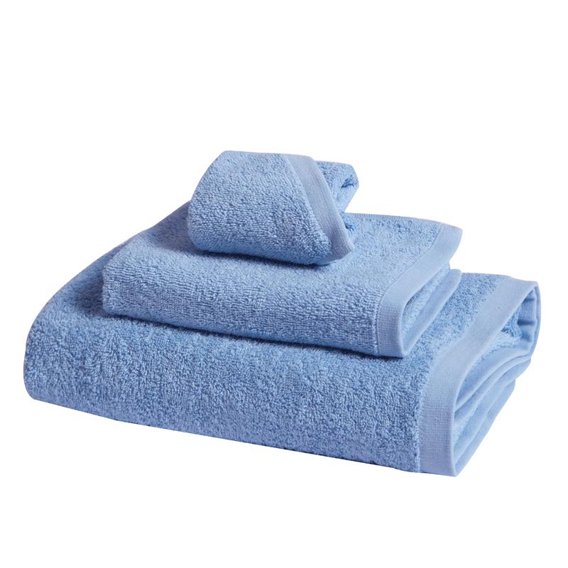 富安娜纯爱素色纯棉毛浴巾三件套(浴面方巾)蓝色【HC】